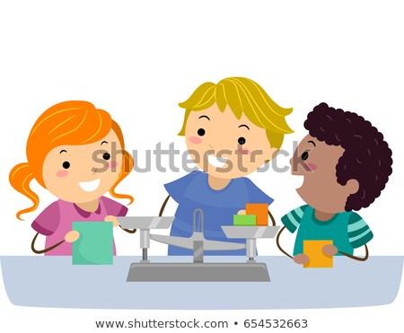 Stickman Kids Physics Measuring Scale Illustration Stock photo © lenm