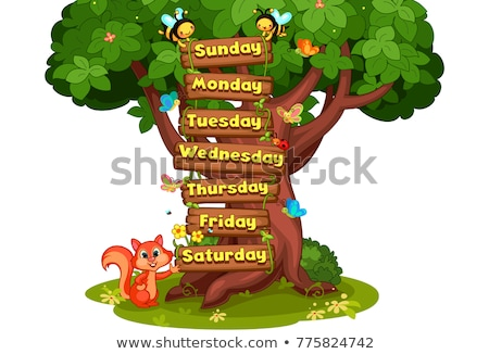 Days of the week poster with happy children Stock photo © colematt