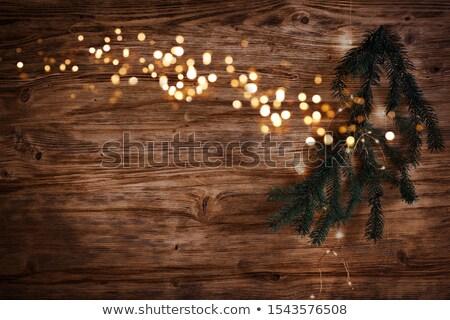 Christmas Fairy Lights on Wood. Christmas tree illuminated.  Stock photo © mythja