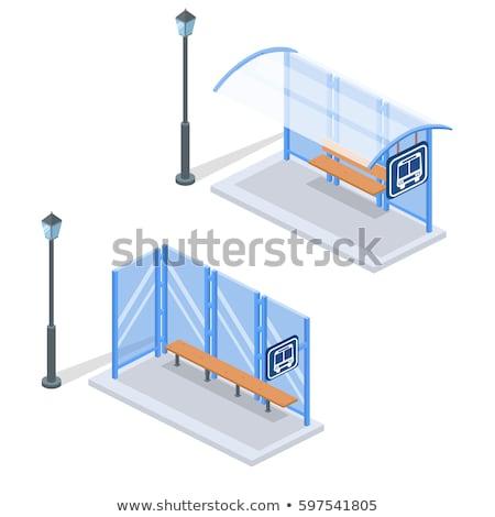 Cidade parada de ônibus vetor isométrica 3D conjunto Foto stock © tashatuvango