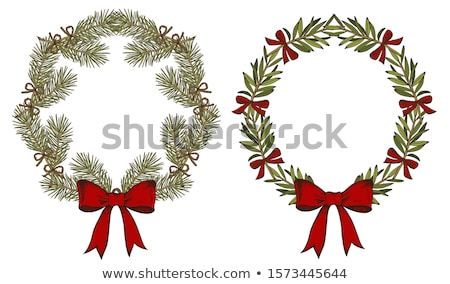 Vector Christmas Pine Wreath with Red Bow Stock photo © dashadima