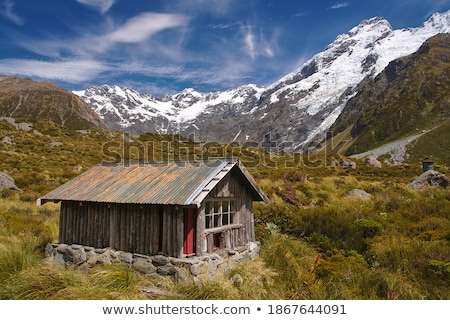 Alpine hut on Hooker Valley Track in Mount Cook National Park Stock photo © cozyta