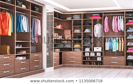 Interior of walk in closet with shelves and clothes rails Stock photo © iriana88w