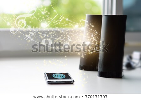 Black smartphone and bluetooth speaker Stock photo © magraphics