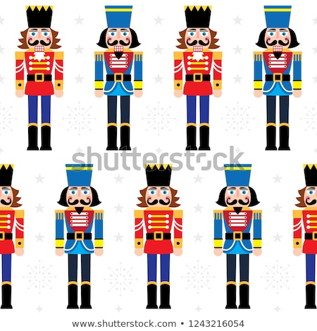 christmas nutcracker vector seamless pattern   soldier figurine repetitive ornament with snowflakes stock photo © redkoala
