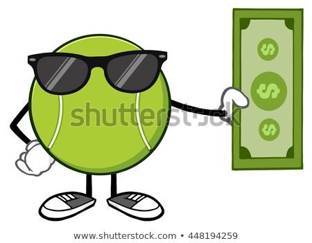 Teniszlabda rajzfilm kabala karakter tart dollár számla Stock fotó © hittoon