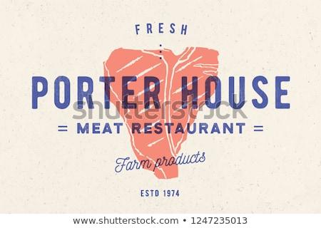 стейк логотип мяса Label силуэта текста Сток-фото © FoxysGraphic