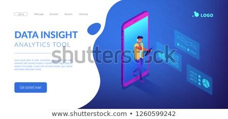 Gegevens inzicht isometrische 3D landing pagina Stockfoto © RAStudio