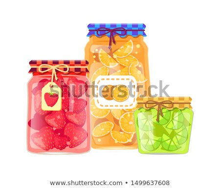 Canned Citruses and Berries with Stickers Poster Stock photo © robuart