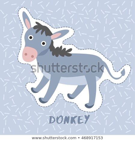 Smiling Cartoon Donkey Character in Pastel Color Stock photo © robuart