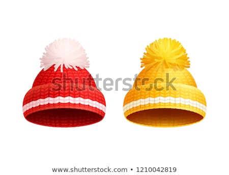 tricoté · rouge · chapeau · blanche · vecteur · icône - photo stock © robuart