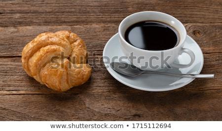 Tasse cappuccino café croissants table en bois haut Photo stock © boggy