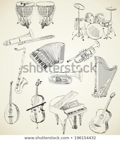 Sketch of a musical instrument. Sketch of lyre. Stock photo © Arkadivna