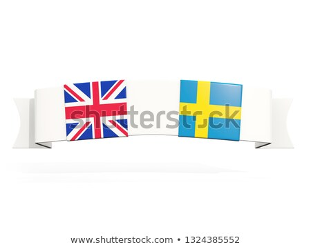 Banner with two square flags of United Kingdom and sweden Stock photo © MikhailMishchenko