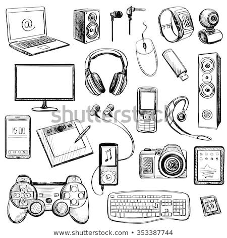Szett kézzel rajzolt szerkentyű ikon szett ikonok telefon Stock fotó © netkov1