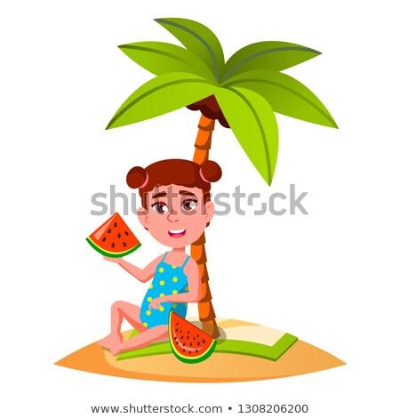 девочку еды арбуза Palm пляж вектора Сток-фото © pikepicture