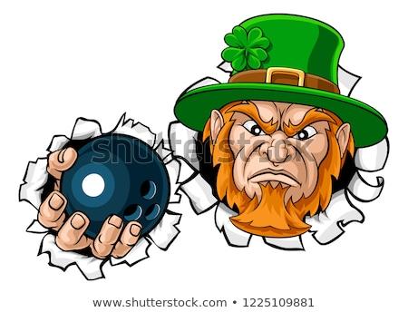 Leprechaun Bowling Mascot Ripping Background Stock photo © Krisdog