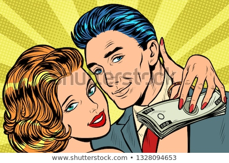 couple in love, money salary gift Stock photo © studiostoks
