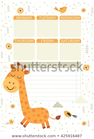A giraffe on note template Stock photo © bluering
