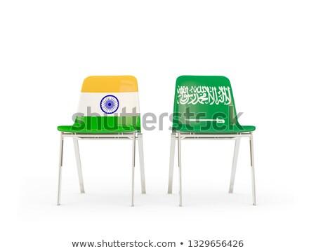 dois · cadeiras · bandeiras · Arábia · Saudita · isolado · branco - foto stock © mikhailmishchenko