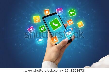 смартфон · применение · иконки · иллюстрация · дизайна · белый - Сток-фото © ra2studio