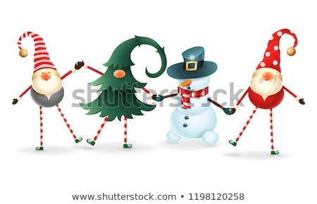 Noël elf danse neige illustration sourire Photo stock © colematt