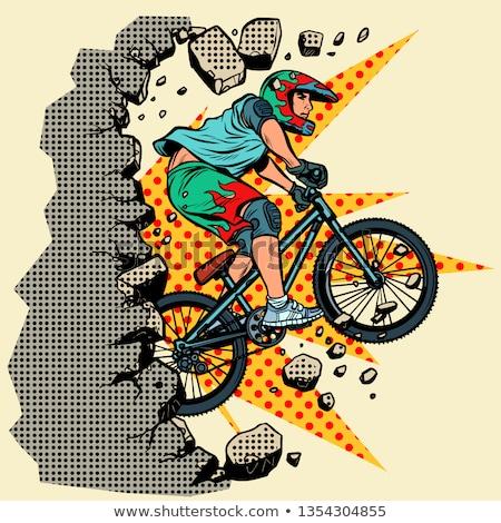 Ciclista extremo esportes parede em movimento para a frente Foto stock © studiostoks