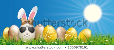 Blue Sky Христос воскрес заяц яйца лента трава Сток-фото © limbi007