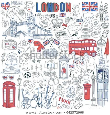 Sketch britannico elementi barba ombrello Foto d'archivio © netkov1