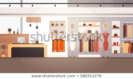 Woman Shopping in Clothes Store, Boutique Vector Stock photo © robuart