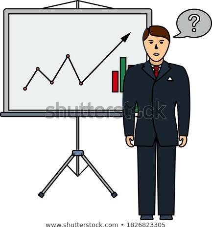 Analytics stand icon schaduw reflectie ontwerp Stockfoto © angelp