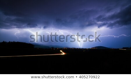 Lightning Strike and Rain Thunderstorm Stock photo © colematt
