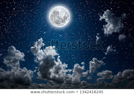 scene with moon and stars at night stock photo © colematt