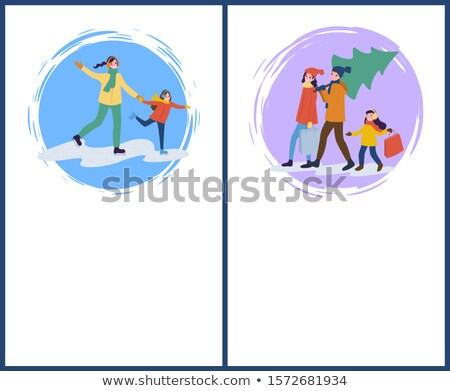 Ice Skating Mother and Daughter Poster with Text Stock photo © robuart