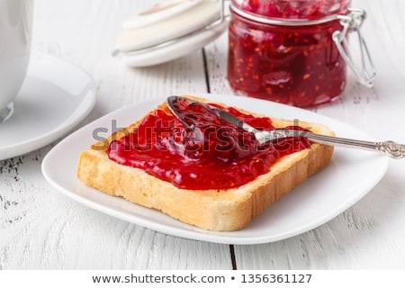 Stockfoto: Eigengemaakt · aardbei · jam · plaat · licht · voedsel