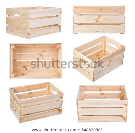 Szett fából készült láda illusztráció fa háttér Stock fotó © bluering