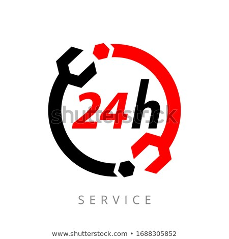 fix support, customer service, 24 hours 7 days a week, call center, isolated icon on white backgroun stock photo © kyryloff