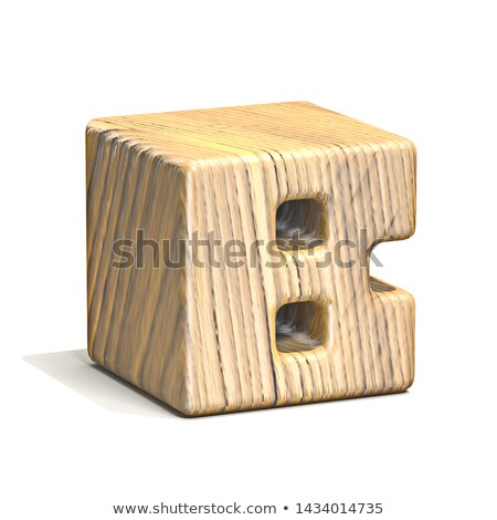 Solid wooden cube font Letter B 3D Stock photo © djmilic