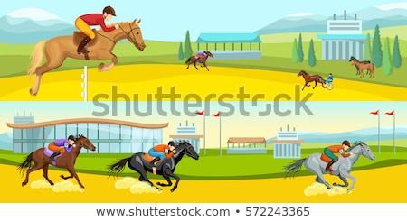 saltando · cavalo · jóquei · arte · saltar · animais - foto stock © netkov1