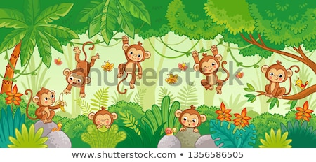 Boldog gorilla emberszabású majom állat rajzfilmfigura rajz Stock fotó © izakowski