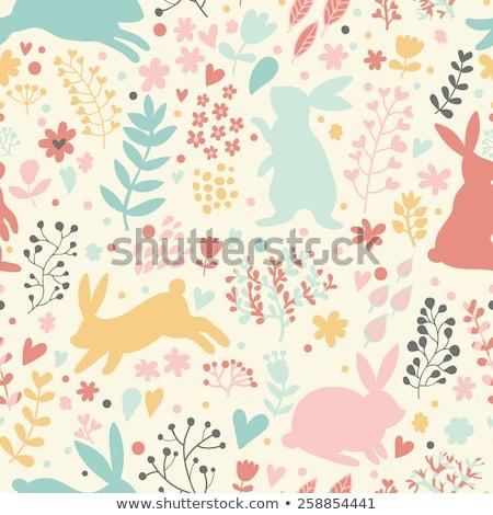 Foto stock: Páscoa · bonitinho · coelhos · conjunto · coleção · primavera