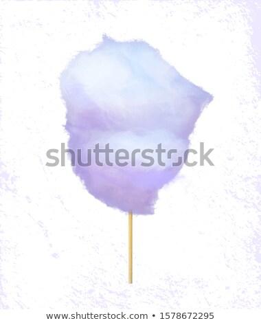 Sucre coton bonbons étiquette vecteur bois Photo stock © robuart