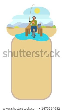 Fishing Man on Lake or Riverside Back Flat Poster Stock photo © robuart