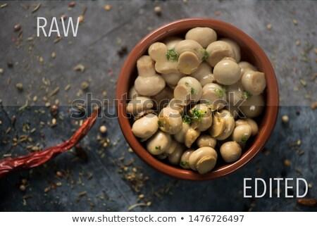 Crudo foto cocido setas marrón tazón Foto stock © nito