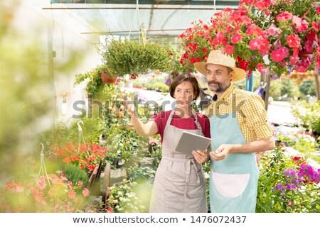 Twee boeren naar een bloemen bespreken Stockfoto © pressmaster