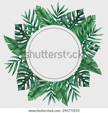 Green card leaves Vector watercolor. Summer round tropic botanical posters Stock photo © frimufilms