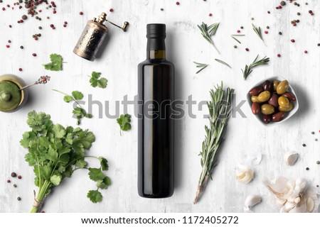 Cooking olive oils, bottles background Stock photo © JanPietruszka