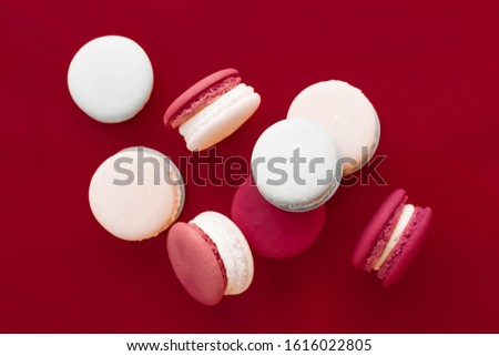 French macaroons on wine red background, parisian chic cafe dess Stock photo © Anneleven