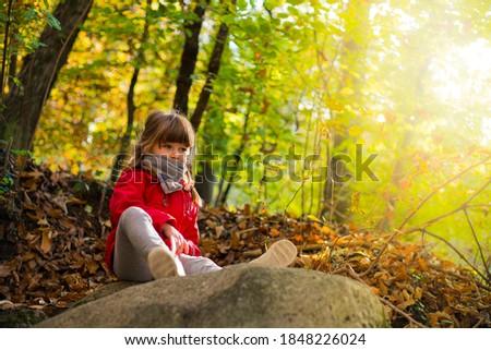 Kind outdoor najaar bos vergadering steen Stockfoto © ElenaBatkova