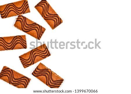 Kek çubuklar krem dekore edilmiş koyu çikolata yalıtılmış Stok fotoğraf © marylooo